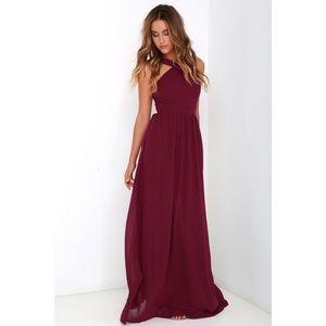Lulu's AIR OF ROMANCE BURGUNDY MAXI DRESS